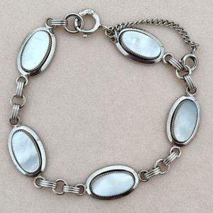 Vintage sterling mexico mother of pearl bracelet